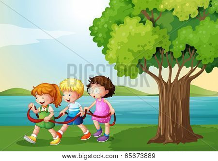 Illustration of the three kids playing with the rope near the river