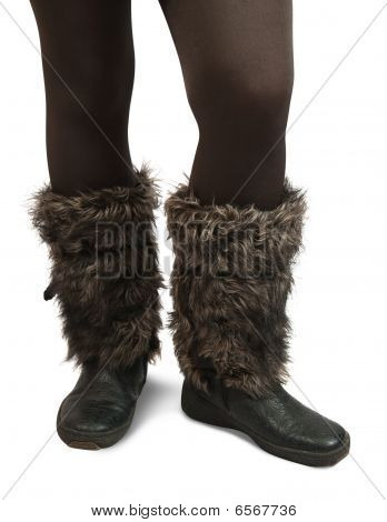 Woman Feet In Fur Wintry  Boots