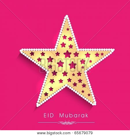 Greeting card design with golden star on pink background for celebration of Muslim community festival Eid Mubarak.