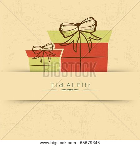 Beautiful greeting card design with gift boxes on brown background for celebration of Muslim community festival Eid Mubarak.
