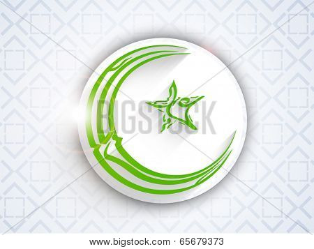 Stylish sticky design with arabic islamic calligraphy of a green text in crescent moon and star shape on abstract seamless blue background.