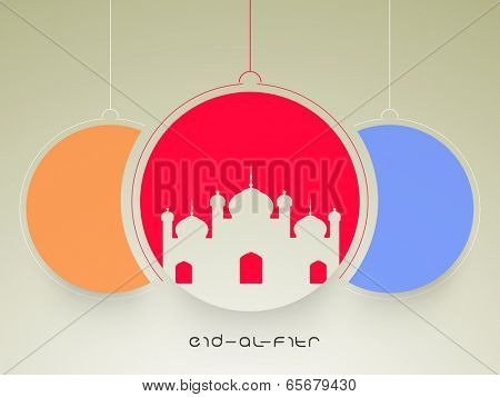 Beautiful illustration of a mosque in red colour sticky with blue and orange colour options on brown background for the festival of Eid-Al-Fitr celebration.