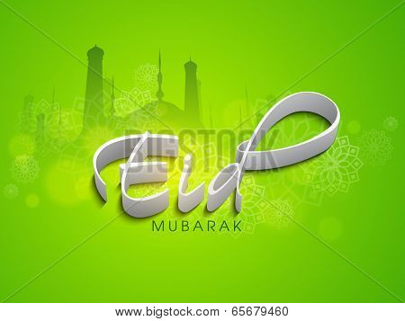 Stylish greeting card design with mosque silhouette on green background for celebration of  Muslim community festival Eid Mubarak.