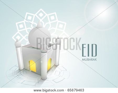 Beautiful 3D illustration of a mosque on floral decorated blue background for the festival of muslim community Eid Mubarak celebrations.