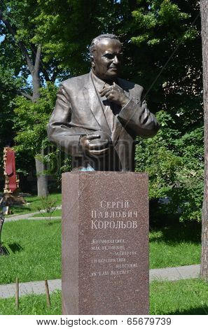 KIEV, UKRAINE - 26 MAY 2014:Historical area of the campus of Polytechnic University.Sergey Korolev monument.Soviet rocket  creator.(Famous R-7 ,Sputnik-1 e.t.c.) May 26 , 2014 in Kiev, Ukraine
