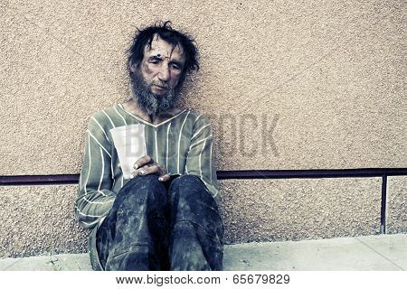 Homeless man in depression