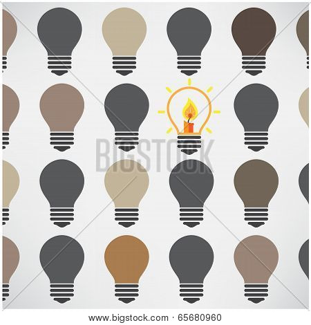 Creative Light Bulbs on Background