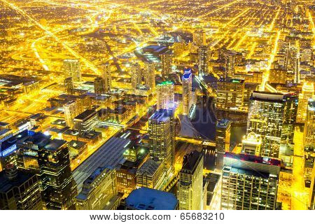 Aerial view of Chicago City downtown at night