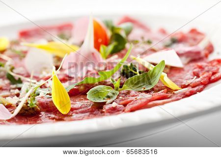 Beef Carpaccio with Parmesan Cheese, Herbs and Cherry Tomato