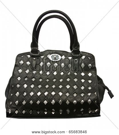 Black and silver leather lady bag isolated on the white background