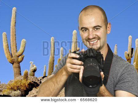 Fotógrafo y fondo de Cactus