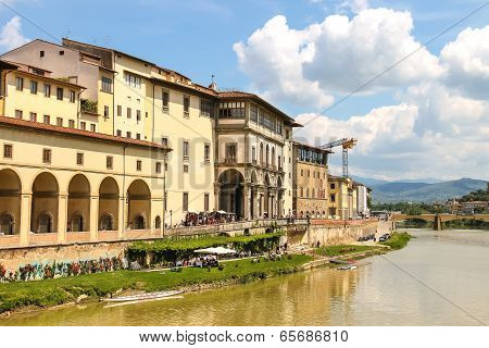 Quay Of The River Arno Of The Ancient Italian City Florence