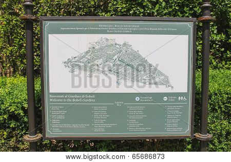 Information Board In The Boboli Gardens. Florence, Italy