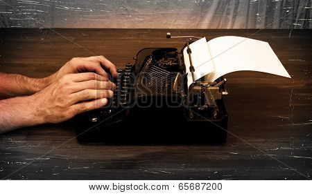 Writer Or Reporter Behind The Typewriter