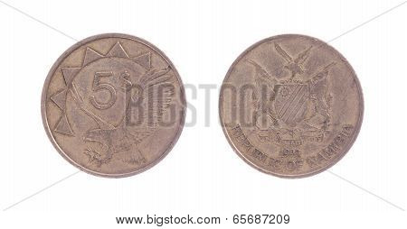 Old Five Dollar Coin, Namibian Currency