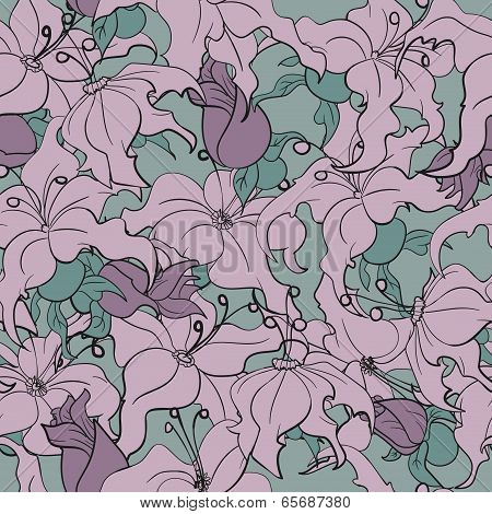 Seamless Pattern With Continuous Flowers