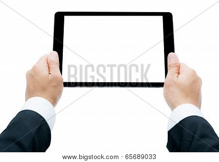Businessman Hands Holding Tablet Isolated