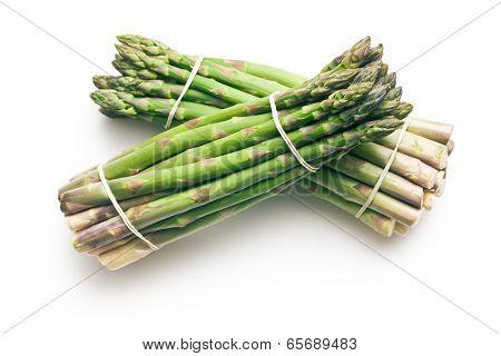 green asparagus on white background
