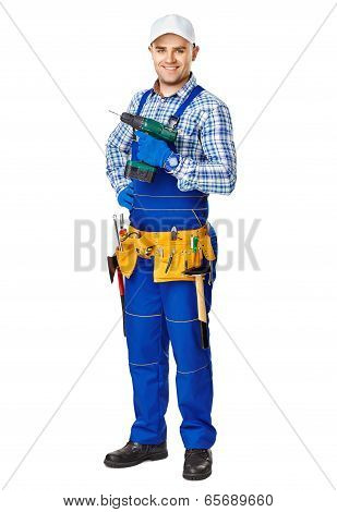 Young Construction Worker With Electric Drill