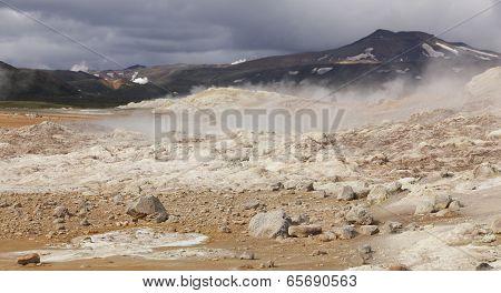 Iceland. Krafla. Active Volcanic Zone. Hot Volcanic Rocks.