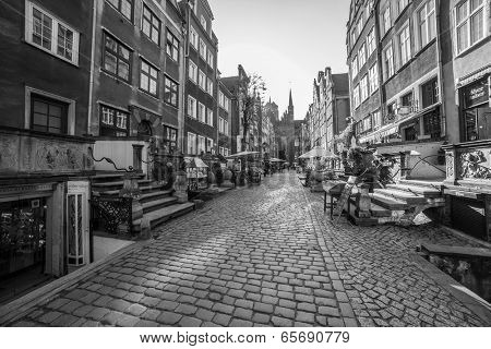 GDANSK, POLAND - 13 MAY: Architecture of Mariacka street in Gdansk on 13 May 2014. Baroque architecture of Mariacka street is one of the most notable tourist attractions in Gdansk.