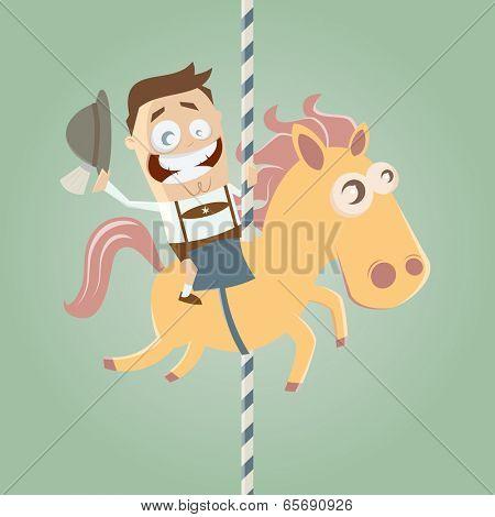 bavarian cartoon man is riding on carousel horse