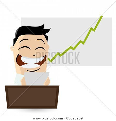 funny businessman is reading good news