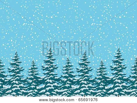 Seamless background, Christmas trees with snow