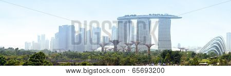 SINGAPORE 31 DEC, 2013: Panoramic view of Marina Bay in Singapore. City skyline of one of post popular travel destinations in Asia. 30 Mpx panorama