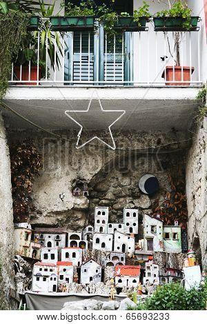 Minature Town Under Balcony In Amalfi, Italy