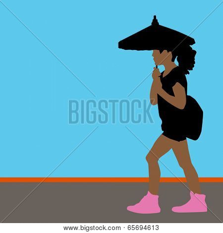 An image of a girl walking while holding a parasol.