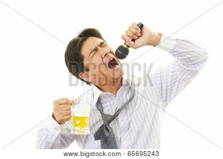 Drunk businessman man with beer