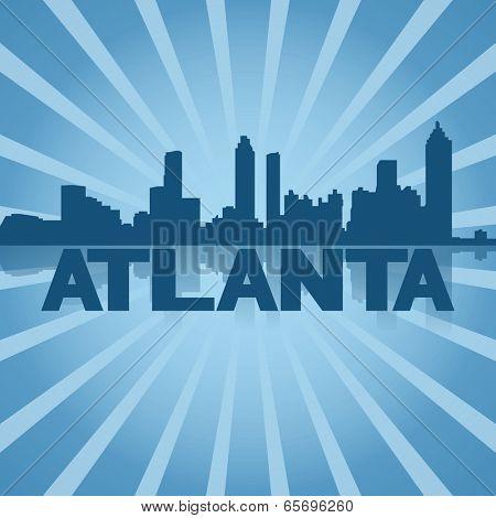 Atlanta skyline reflected with blue sunburst illustration