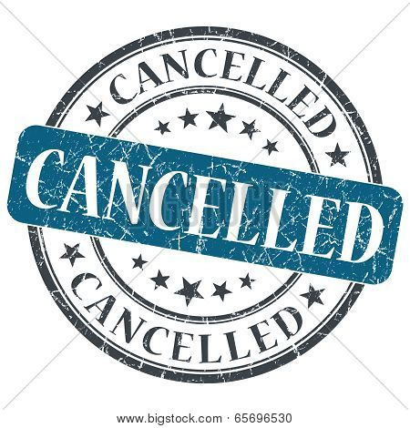 Cancelled Blue Round Grungy Stamp Isolated On White Background