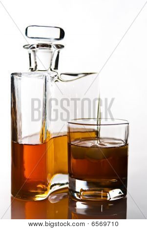 Single Carafe Of Scottish Whisky Or Bourbon And Drink With Ice