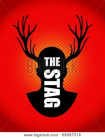 a red and black stag silhouette theme
