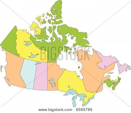 Canada with Provinces, no Names