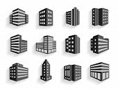 picture of building exterior  - Set of dimensional buildings icons in grey and white with shadow depicting high - JPG