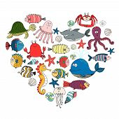 pic of undersea  - fish and marine animals in shape of heart - JPG