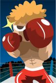picture of pugilistic  - An image of a boxer in a boxing ring in a fighting position - JPG