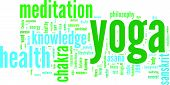 foto of guru  - Yoga wordcloud on white background - JPG