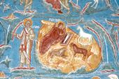foto of suceava  - Beautiful details of an ancient fresco painting depicting the birth of the Holy Child - JPG