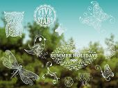 picture of std  - Vector Summer Design Elements on Background with green forest and blue sky place for your text Cooper Black Std and Eccentric Std fonts used in example - JPG