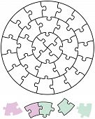 stock photo of brain-teaser  - Jigsaw puzzle in the form of circles with single pieces which can be individually removed and arranged - JPG
