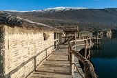 stock photo of reconstruction  - The Bay of the Bones the reconstructed site of a prehistoric settlement at Lake Ohrid Republic of Macedonia  - JPG