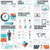 Big colorful set of infographic business elements in vector format poster