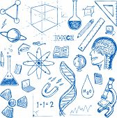 stock photo of proton  - Sciences doodles icons vector set - JPG
