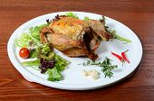 pic of turkey-hen  - The baked hen with salad close up - JPG