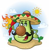 stock photo of mexican  - A Mexican avocado cartoon character in the Mexican desert with cactus holding a flaming hot red chili pepper in the sun - JPG