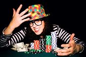 stock photo of roulette table  - Happy female face on the poker table - JPG